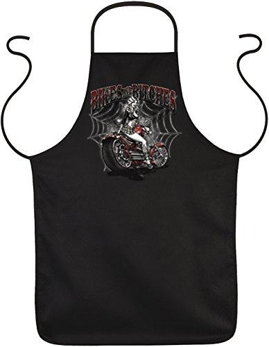 Herren Grillschürze - Bikes and Bitches - Biker Küchenschürze Kochschürze für Männer schwarz lustiges Geschenk zum Geburtstag oder Vatertag - Bitch Biker-shirt