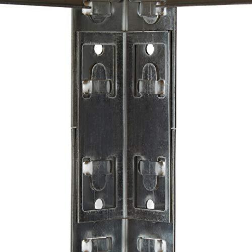 Relaxdays Schwerlastregal mit Werkbank, 900 Kg 5 Böden, Freistehend, HBT 180x 100 x 60 cm, Metall, MDF, Steckregal, grau - 6