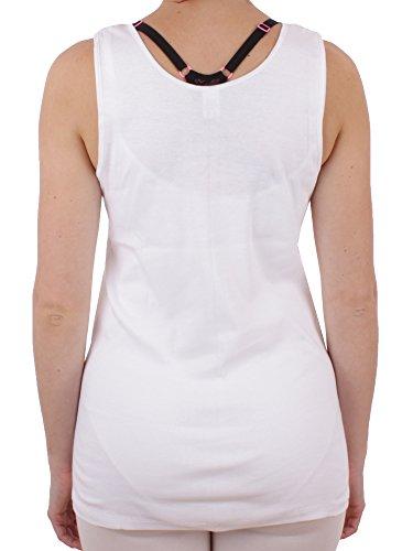 Damen Unterhemd mit Spitze Feinripp aus 100% Baumwolle (Unterhemd, Top, Oberteil) Nr. 329/228/1 ( Weiß / 44/46 ) - 2