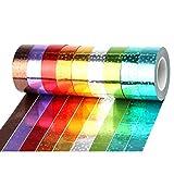 Deanyi 6PCS Couleurs Assorties Glitter Papier Washi RG.CASSET Masking Tape Tape décoratif pour l'artisanat Bricolage Livre Album Designs Diary Produits Pratiques