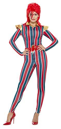 Kostüm Bowie David - Smiffys Damen Weltraum Superstar Kostüm, Jumpsuit und Gürtel, Größe: 40-42, 43859