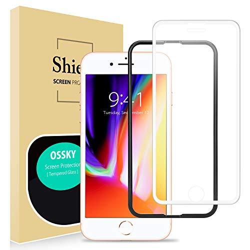 Ossky Panzerglas Schutzfolie Full Screen Cover Kompatibel für iPhone 6 / 6s / 7/8 panzerglasfolie 3D Touch kompatibel, 9H Härte, Hüllenfreundlich, HD Ultra Klar, Schutz vor Öl und Kratzer - weiß