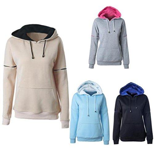 Ouneed® Sweat Shirt a Capuche avec Pochette Hoodies Beige
