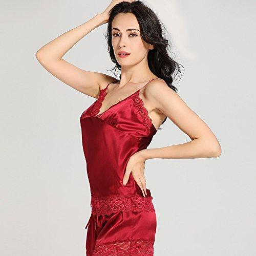 LILYSILK Pyjashort Soie de Mûrier 2 Pièces Femme Caraco & Short Dentelle 22 Momme Rouge Vineux