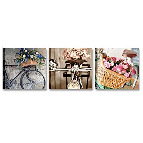 Tris Bici Vintage, Quadro Moderno 3 Pannelli componibili 25x25 cm | Stampa su Tela Canvas Quadri Moderni Soggiorno Shabby Chic, Salotto, Camera da Letto Ragazza, Bagno | Fiori Rosa Cipria Regalo