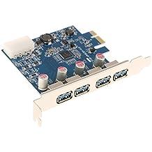 MagiDeal Tarjeta Super Rápida 4 Puertos Usb3.0 Pci Express Adaptador Con Conector de Alimentación Ide 4 Pines Accesorios