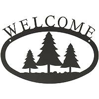 Village Hierro forjado 11inch pino árboles pequeños, Negro, Señal de bienvenida