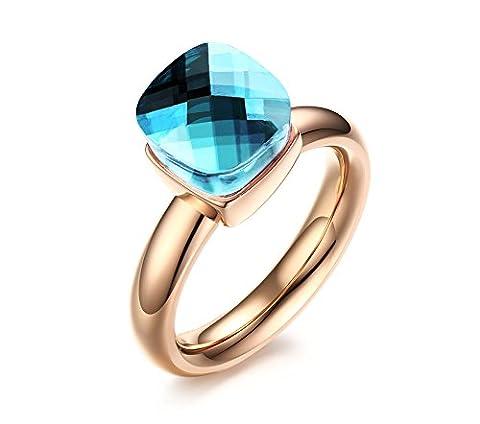 Vnox Women's Girl's Blue Gemstone Rose Gold Wedding Engagement Band Ring Italy Delicate Jewelry Design UK Size P