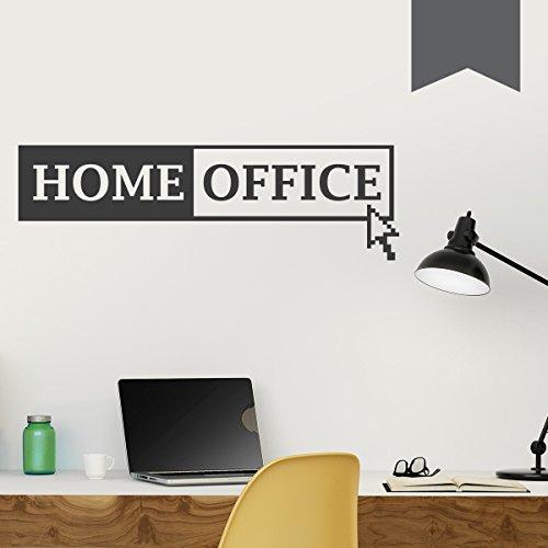 """WANDKINGS Wandtattoo """"Home Office mit Mauszeiger"""" 130 x 39 cm - Dunkelgrau - Wähle aus 5 Größen & 35 Farben"""
