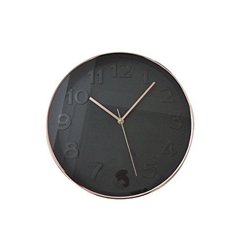 THE HOME DECO FACTORY HD3304 Horloge Ronde PP Noir/Cuivre 30,70 x 4,50 x 30,70 cm