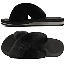 COFACE Womens Fur Sliders Ladies Fluffy Faux Fur Slippers Cosy Fuzzy Open Toe House Sandals Slip On Comfy Plush Furry Shoes with Arch Support for Indoor/Outdoor Black