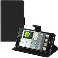 kwmobile Funda para Huawei Ascend P7 - Wallet Case plegable de cuero sintético - Cover con tapa tarjetero y soporte en negro