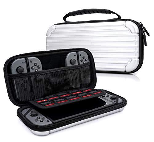 MyGadget Zubehör Tasche Aluminium Design Case für Nintendo Switch, Joy Con Controller & min. 10 NDS Spiele - Tragetasche Hardcase Schutzhülle in Silber (Silber Pokemon-karte)