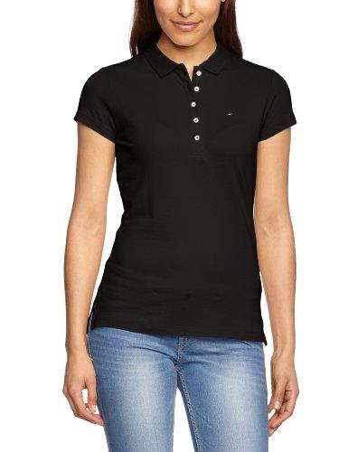 Tommy Hilfiger Damen Poloshirt NEW CHIARA STR PQ POLO Short Sleeve, Einfarbig, Gr. 38 (M), Schwarz (017 Masters Black)
