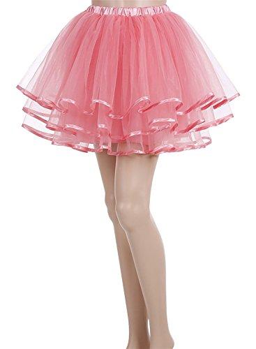 Carnivalprom Damen Wedding bridal 1950 Petticoat Reifrock Unterrock Petticoat Underskirt Crinoline für Rockabilly Kleid Koralle