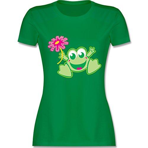 Blumen & Pflanzen - Frosch mit Blume - L - Grün - L191 - Damen T-Shirt Rundhals