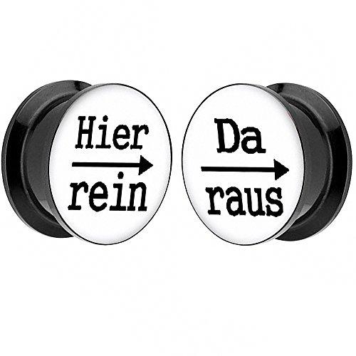 Piersando 1 Paar 2er Set Ohr Plug Piercing Kunststoff Flesh Tunnel Ohrplug mit Hier rein Da Raus Spruch Schwarz Motiv Comic Picture Weiß 24mm