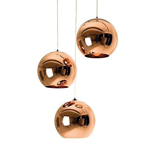 Araña de luces Diseño moderno Golden-copper Acabado Mixto Media lámpara con forma de globo de vidrio en forma de lámpara de cuerda ajustable para boda Lounge Bar ( Color : Copper , tamaño : 30cm )