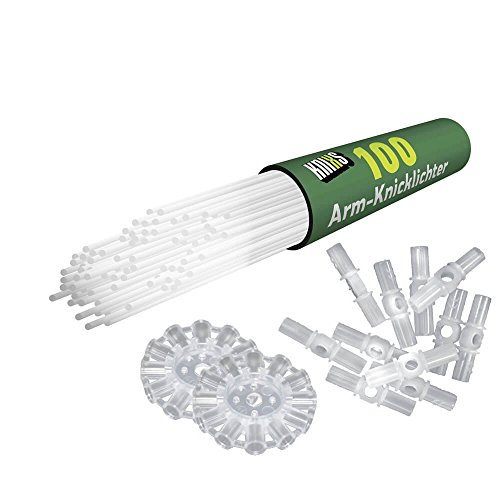 KNIXS Arm-Knicklichter inkl. 3D-Verbinder (100 Stück), Kreisverbinder und Lochverbinder, gletschwerweiß, intensiv Leuchtend, Kunststoff Gletscherweiß 20 x 0.5 cm Einheiten