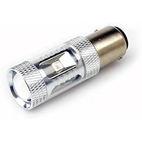 Lumiplux 1157 Bombilla bay15d 12V 24V LED rojo coche de la luz 6X5W del poder m¨¢s elevado de la luz de freno (Pack de 2)