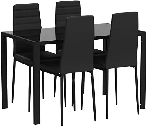 TecTake Conjunto de Mesa y 4 sillas de Comedor | Alto Grado de Confort | Tablero de la Mesa Robusto,...
