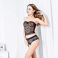 Ronshin Sleepwear Women Sexy Lace Lingerie Set Low Waist Underwear Panties Tempting Briefs Pijamas Bar Set black XXL