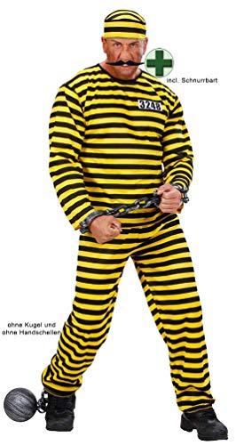 Karneval-Klamotten Sträfling Kostüm Herren gelb schwarz mit Mütze und Schnurrbart schwarz Sträflingskostüm Herren-Kostüm Größe 50 (Schnurrbart Baby Mit)