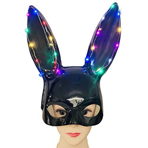 htfrgeds Erwachsene Häschenmaske Frauen Maskerade Kaninchen Maske Häschenmaske für Geburtstagsfeier Ostern Halloween Bar Kostüm Cosplay Zubehör (Mensch Bunny Kostüm)