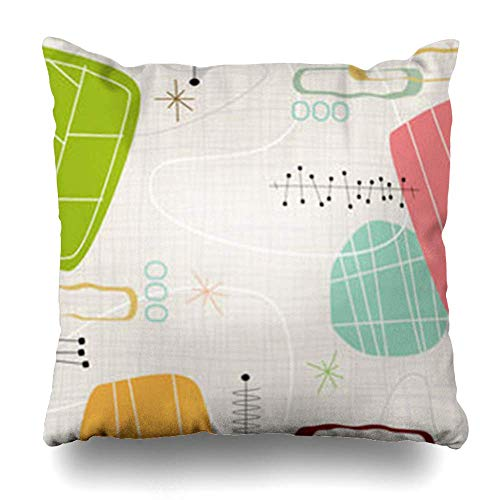 Monicago Zierkissenbezüge, Kitsch Retro Inspired Shapes Stars Each Item is Grouped So You Them Independently from Layered Blue Pillowcase Square Size 18 x 18 Inches Home Decor Cushion Cases