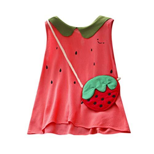 Mädchen Kinderkleidung, Yanhoo Kleinkind Kinder Baby Mädchen sommerkleidärmellose niedliche Wassermelone Kleider + Tasche Set Mädchen Hit Farbe Revers Alapel ärmelenlos Westenrock Kleid + ()