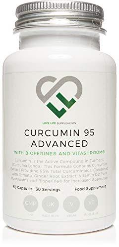 LLS Curcumin 95 Advanced (früher Curcumin C3 Advanced) | Hochfestes Curcumin (die aktive Komponente von Kurkuma) enthält NUR AKTIVES CURCUMIN mit 95% Curcuminoiden + BioPerine®, Vitamin D3, Tomate und Ingwerwurzel | 60 Kapseln | Hergestellt in Großbritannien unter GMP-Lizenz