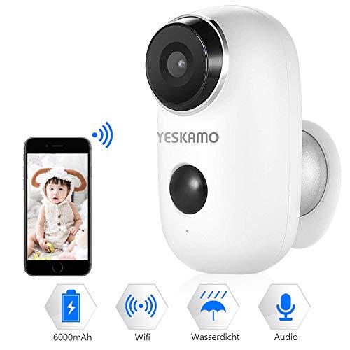 Überwachungskamera mit AKKU,Kabellos WiFi Kamera wasserdicht intelligente IP Kamera WLAN, Bewegungsmelder, Nachtsicht Überwachungsystem Zwei Wege Audio Kamera für innen und außen Logitech-videoüberwachung