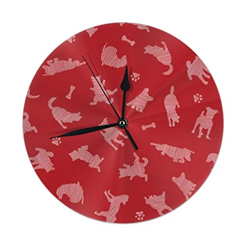 HomeMats 9.8 Inch Round Wall Clock,Dog Silent Non Ticking Decorative Clocks for Kitchen, Living Room, Bedroom, Office (Kit Cat Clock-pink)