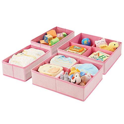 mDesign Juego de 4 cajas de almacenaje para habitación infantil o baño - Organizadores de armarios infantiles con 1 y 4 apartados - Cestas organizadoras en fibra sintética con diseño de espiga - rosa
