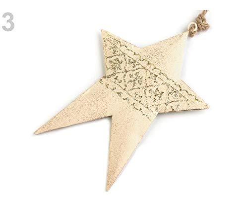 1stück 3 Ecru Arany Herz, Stern, Baum Aus Metall - Weihnachtsdeko, Sterne, Schneeflocken, Bäumchen, Weihnachtsdekorationen