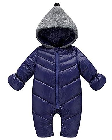 Unisex Baby Daunenjacke Neugeborenes Overall Schneeanzug Spielanzug Romper Pyjamas Jumpsuit Zipper Daunenjacke Outwear Marine 90