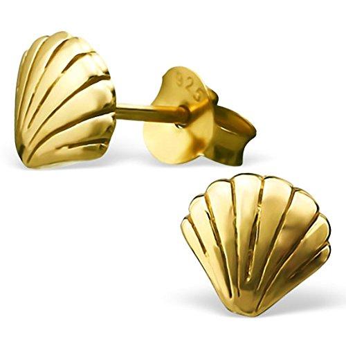 EYS JEWELRY Damen-Ohrstecker Jakobsmuschel 925 Sterling Silber vergoldet 6 x 7 mm gold-farben Ohrringe