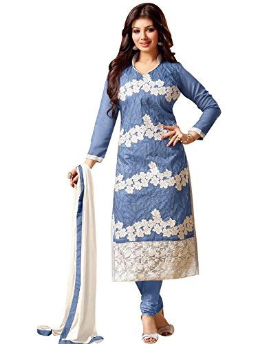 new sky blue white embroidered cotton partywear salwar suit dress material