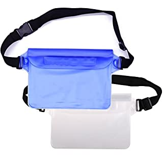 Maveek Waterproof Pouch Bag Beach Pouch with Adjustable Waist Extra-Long Belt Strap Protect Phone, Camera, Passport, Cards From Water, Sand, Dust (Blue+White)
