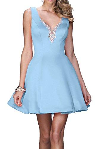 Promgirl House Damen Glamour Satin A-Linie Cocktailkleider Abschlussball Party Ball Abendkleider Kurz Blau