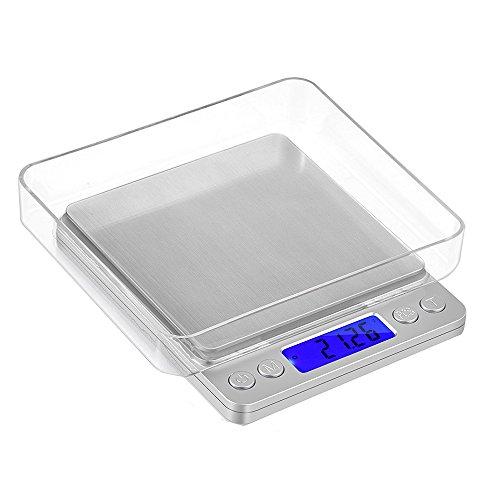 Minibáscula digital portátil con escala de 0,1a2000g. Báscula postal, pesa oro, joyas, monedas / Balanza de cocina de color plateado