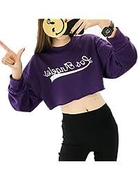 DAMENGXIANG Camiseta De Cintura Alta para Mujer Ombligo Corto De Moda con Fugas Sueltas Chaqueta Hip