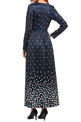 Zearo Robe du soir de la femme, élégant Encolure ronde manches longues Maxi Dress Vintage Bleu Marine