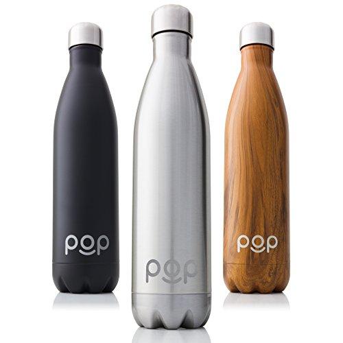POP Bottiglia per Acqua Design, Mantiene Il Freddo per 24 Ore e Il Caldo per 12 Ore, Acciaio Inox Isolamento a Vuoto, Antigoccia e anticondensa, Collo Stretto e priva di BPA, 740 ml, Titanio
