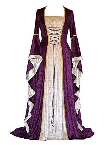 Mittelalter Renaissance Kostüm,Lange Ärmel Party Kleid Violett M ()