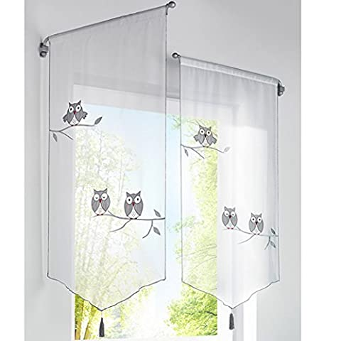 Hoomall 1PC Décoration de Fenêtre Voilage Brise Bise Rideau Pompon pr Café Cuisine Broderie Hibou Couleur Gris Polyester 80cmx160cm