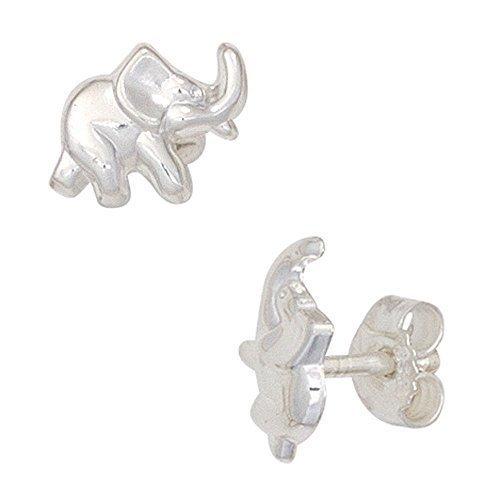 Los niños pendientes Elefant 6 x 9 mm de diámetro pulido 925...