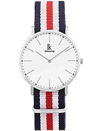 Alienwork Reloj cuarzo Ultra-delgada relojes hombre mujer Diseño intemporal Nylon plata azul U04820G-01