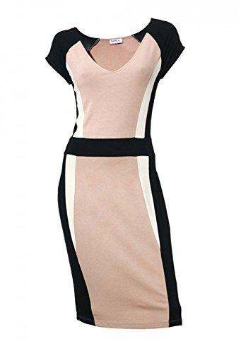 Damen Bodyforming-Patchkleid, schwarz-rosé, Größe:42 (Internationalen Kleid)