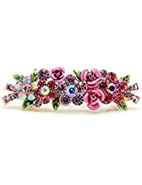Glamorousky Glitterland Dulce flor pinzas de pelo de cristal rojo (10694)